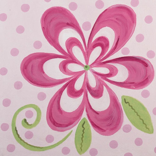 Flamingo Pink Bloom Inspired Square Canvas from PoshTots. Would love it on the walls of a little girls room