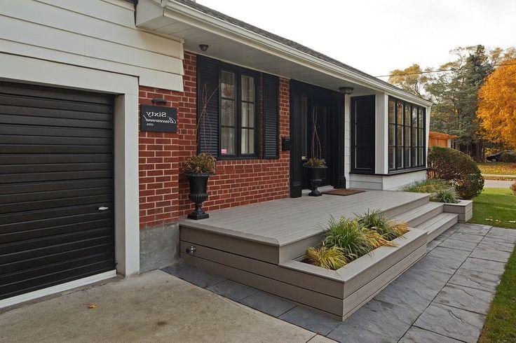 Built in planter box deck transitional with potted plants front door front door