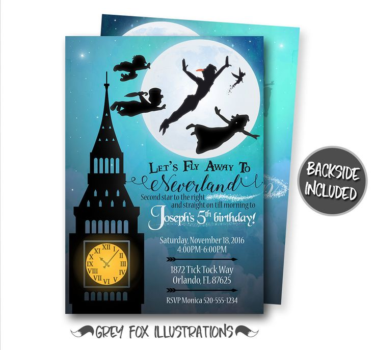 Peter Pan Birthday Invitation, Peter Pan Invitation, Peter Pan Party, Neverland Invitation, Peter Pan Personalized Invite, Printables by GreyFoxIllustrations on Etsy https://www.etsy.com/listing/483681260/peter-pan-birthday-invitation-peter-pan