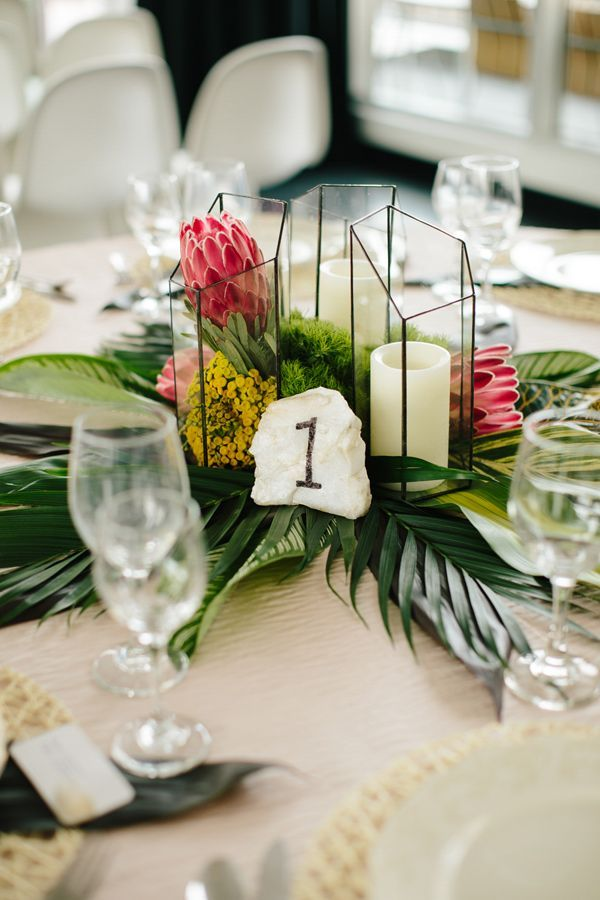 Tropical Inspired Table Setting  photo by  Allison Hopperstad Photography   http://ruffledblog.com/wedding-ideas-inspired-by-floral-graffiti