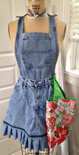 How to make aprons from blue jeans