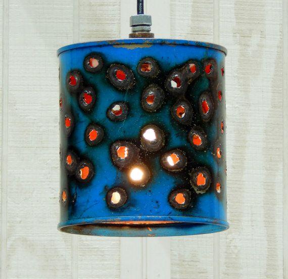 Industrial Pendant Lights -  Funky Blue Heavy Duty Blue Bucket Lights