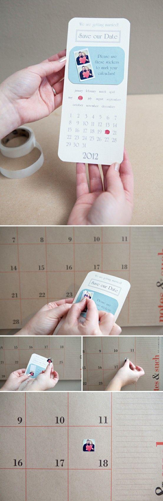 """Tolle Idee fuer """"save the date"""" Karten mit Sticker!"""