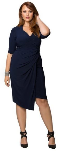 Plus size trendy dress. Full figure dress with neck strap and faux wrap.