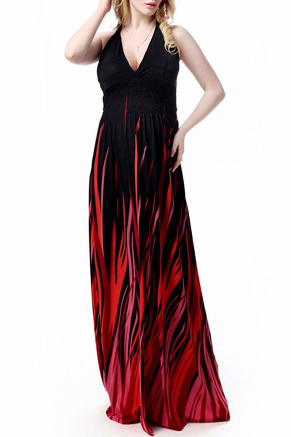 Sexy Halter Neck Sleeveless Ombre Plus Size Prom Dress For Women