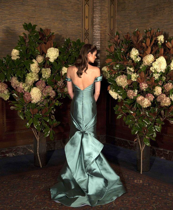 """Austin Scarlett Wedding Gowns: AS61 """"Rhett"""" Off-the-shoulder Silk Mikado Trumpet Gown"""