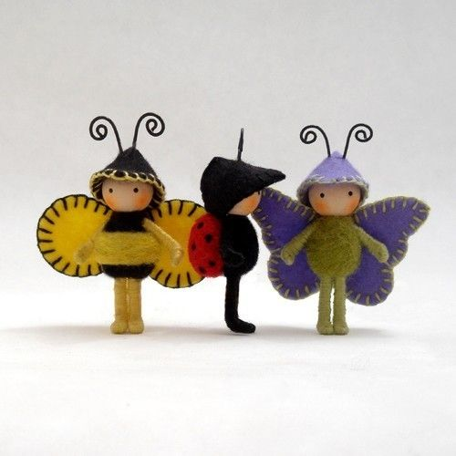felt art: insects - crafts ideas - crafts for kids NOTE a number of very cute insect dolls