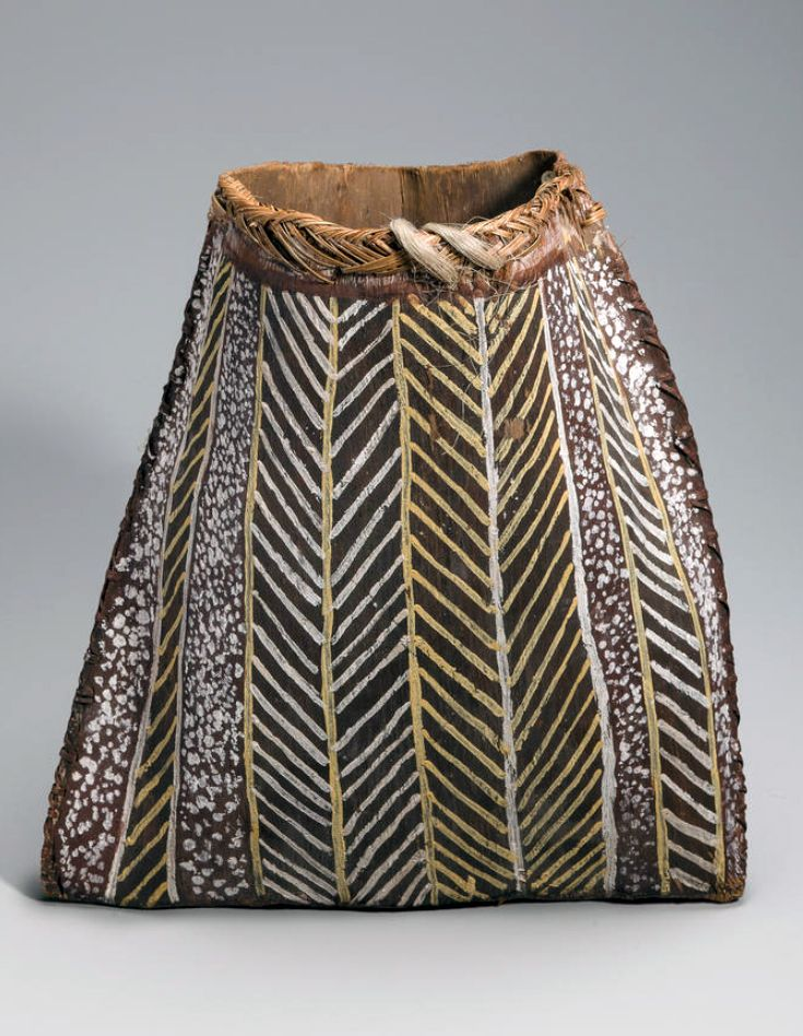 Tiwi Mortuary Basket, Australia | 'tunga' |  Natural earth pigments on eucalyptus bark | Collected 1950s at Bathhurst/Melville Island