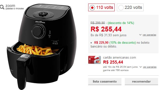 Fritadeira sem Óleo Britânia Air Fry Pró Saúde N 22L Preto << R$ 22990 >>