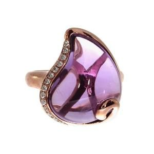 14K Rose Gold Pear Amethyst Ring: Jewelry: by french_violet