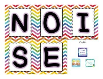 Looking for a new classroom management strategy? Use NOISE!  I cut these apart and laminate them. I attach magnets to the back and put them on the whiteboard. If students are too loud, I take off the E, then the S, and so on. If students get down to NO, they don't earn a sticker towards the class reward.