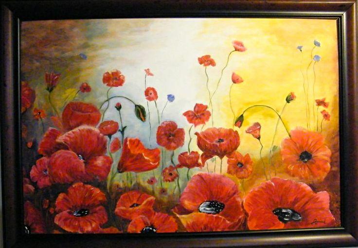 24X36 oil on canvas Poppy field $180 unframed SOLD