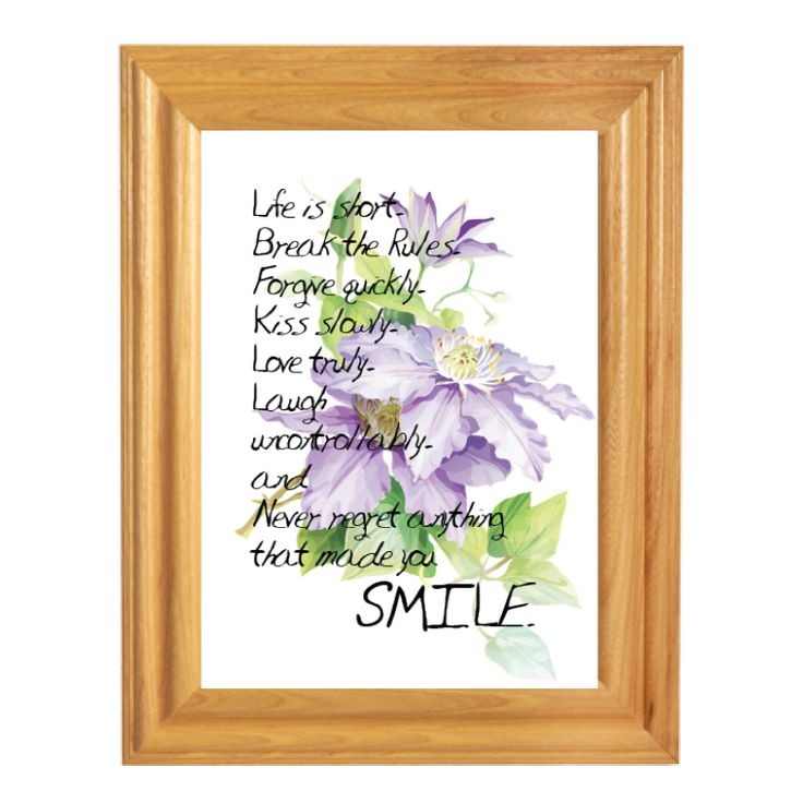 Words for Life - never regret anything that made you smile  Custom Made bible verse/quotes picture frame from $3.9  Langham Mall Unit 2333 & 2335 Level 2, 8339 Kennedy Road, Markham, Ontario, Canada  www.OneOfAKaind.com