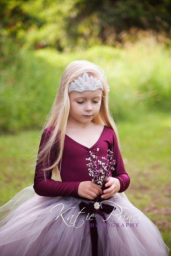 Little Chiyo Precious Silver Tutu and Burgundy Leotard  Petite Bling Crown  Image ~ Katie Princi Photography