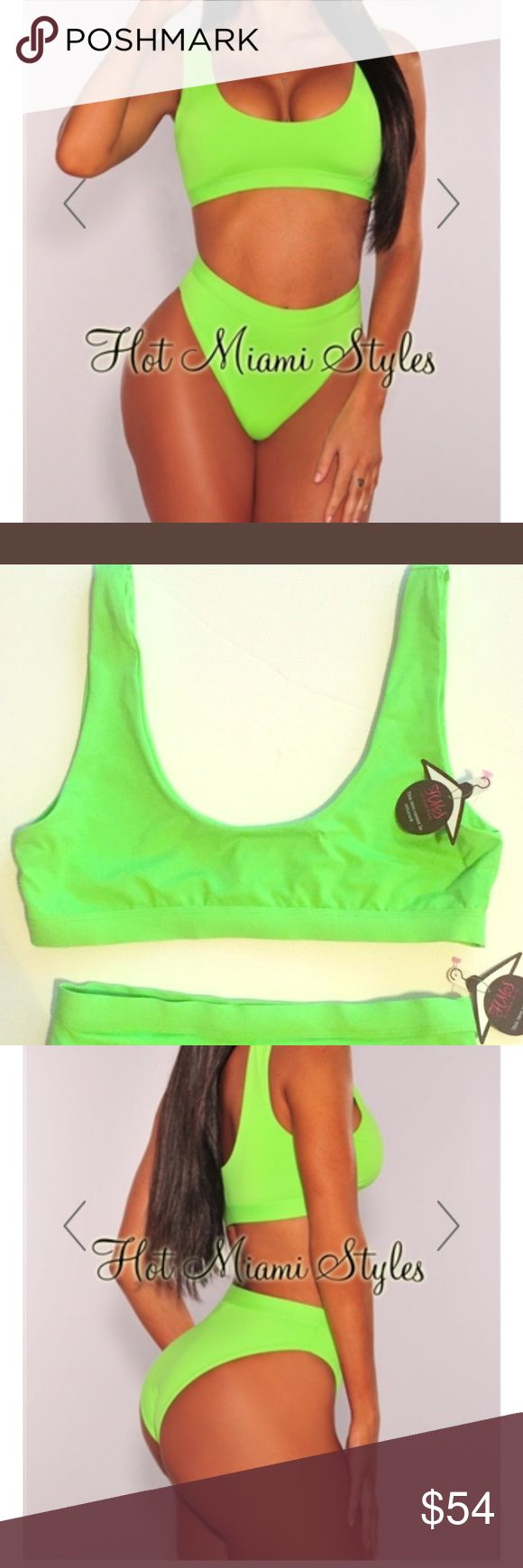 HOT MIAMI STYLES LIME GREEN HIGH WAIST BIKINI prefect for the summer. A size small bottom and top. The bottom is very cheeky and will show off all your curves Hot Miami styles Swim Bikinis