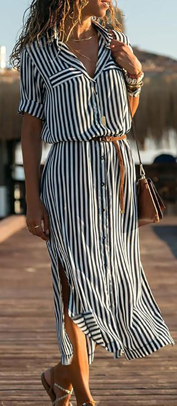Shop now>>Black-White Half Sleeve Striped Shawl Collar Casual Dresses