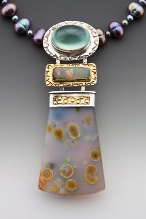 Caryn L. Hetherston || Necklace, Sterling & fine silver, phrenite, boulder opal, ocean jasper & fresh water pearls