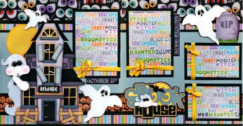 SPOOK-HOUSE-2-premade-scrapbook-pages-paper-piecing-layout-halloween-CHERRY