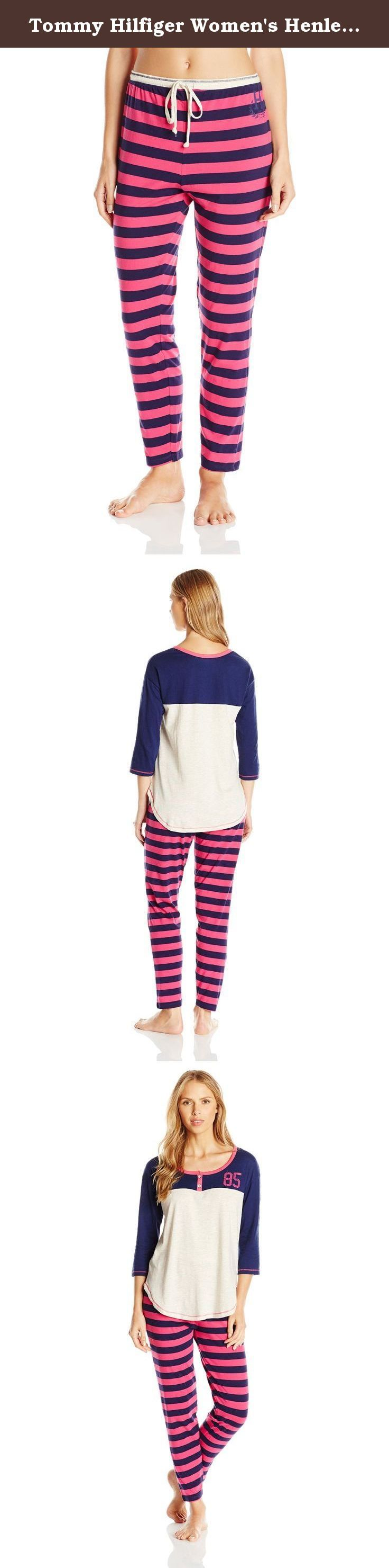 Tommy Hilfiger Women's Henley Slim Pant Pj Set, Oatmeal Heather/Mixed Berry Rugby, Medium. Sleep in style in our favorite sporty sleep set with our varsity henley top and varsity slim pant.