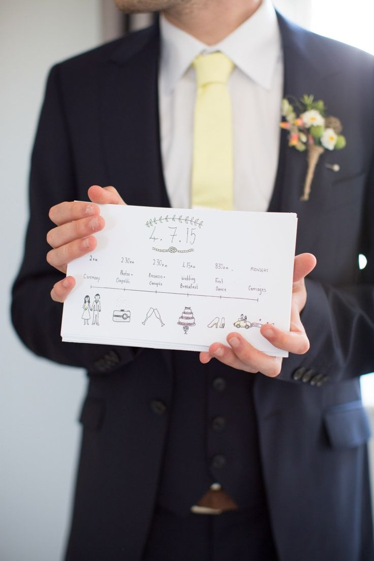 Illustrated Order of Service Stationery Yellow Pink Fresh Fun Summer Barn Wedding http://www.camillaarnholdphotography.com/