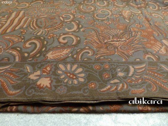Batik Fabric / Javanese Barong / Ethnic / Grey  by Abikara on Etsy