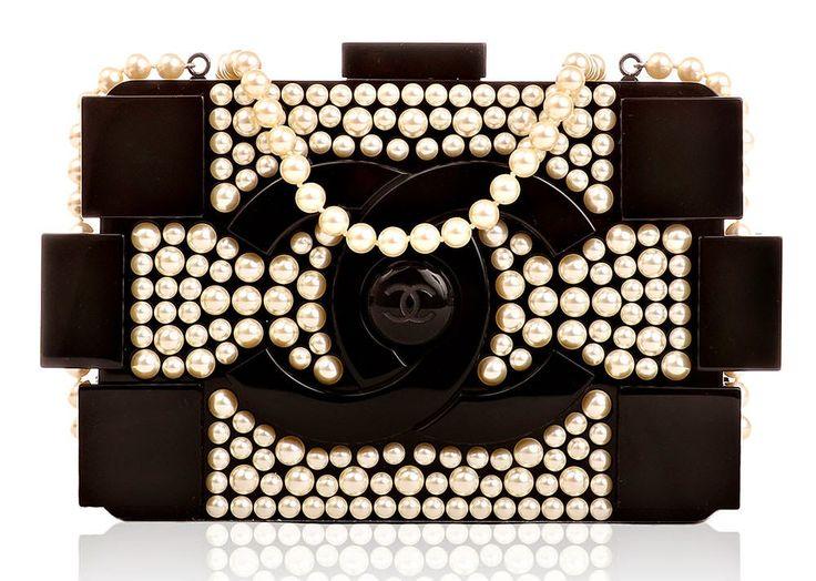 Chanel pearl brick clutch bag