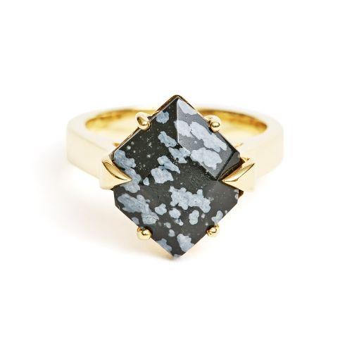 Ring Gold Snowflake Obsidian