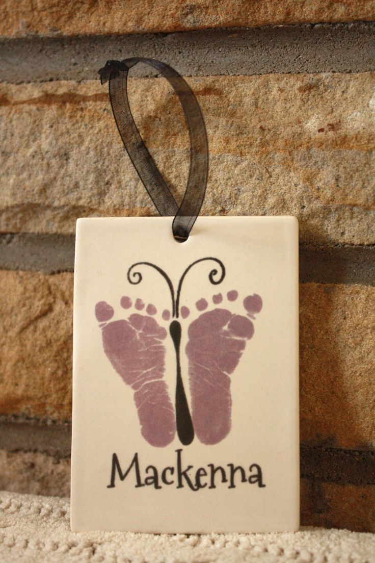 Baby footprint art Butterfly. Porcelain by MyForeverPrints on Etsy, $25.00