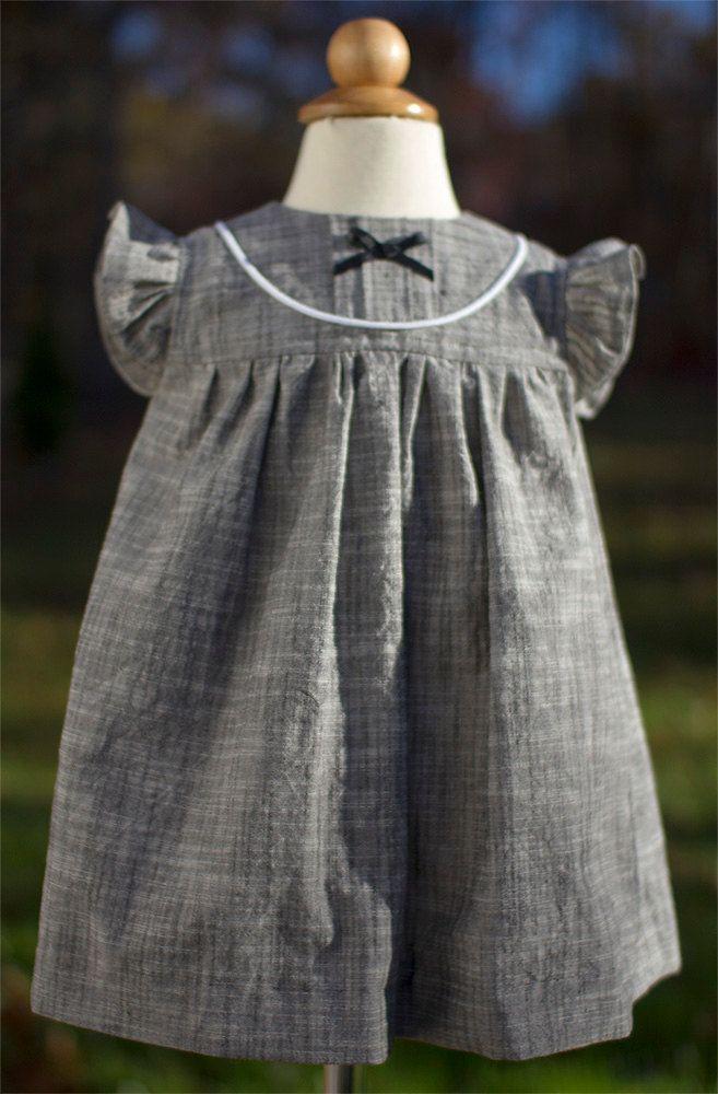 Toddler / Baby Fall Dress- Pin Tuck Yoke Detail, Ruffle Sleeves - Chambray by ByJoli on Etsy