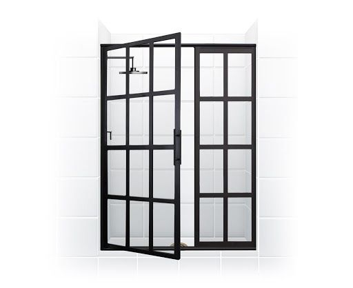 Gridscape Series Factory Windowpane Style Hinge Swinging Shower Door With Clear Gl White Tile Open By Coastal Do
