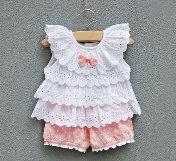 infant clothing Female baby clothes children's clothing 0-24months princess suits summer set lovely baby girls set  vest+shorts
