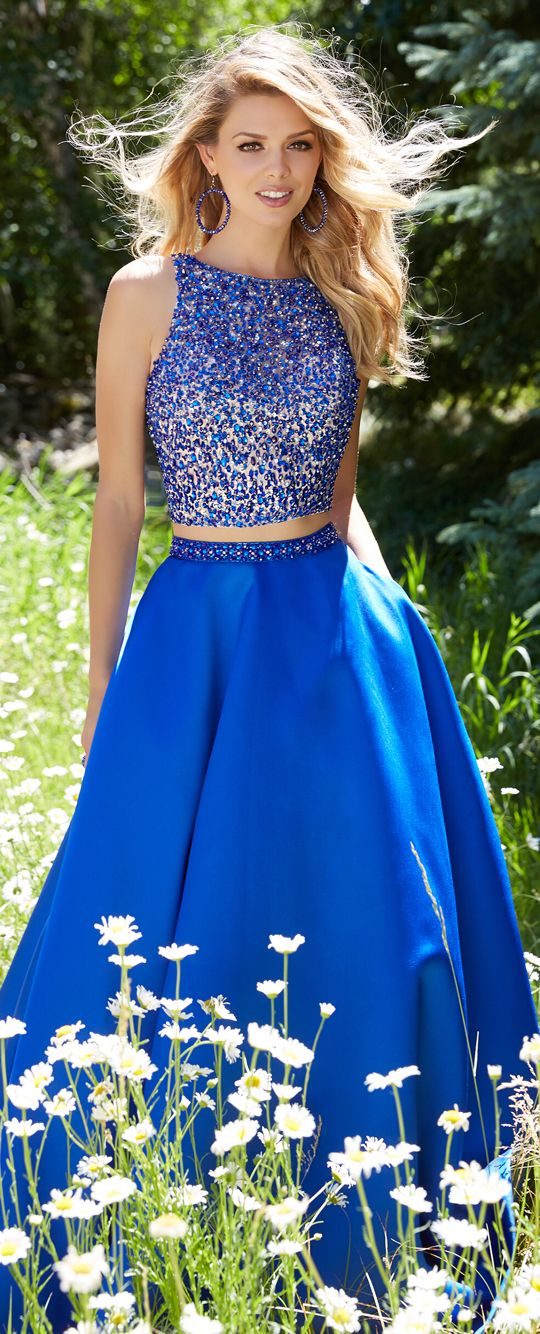 Two piece Royal blue long prom gown!