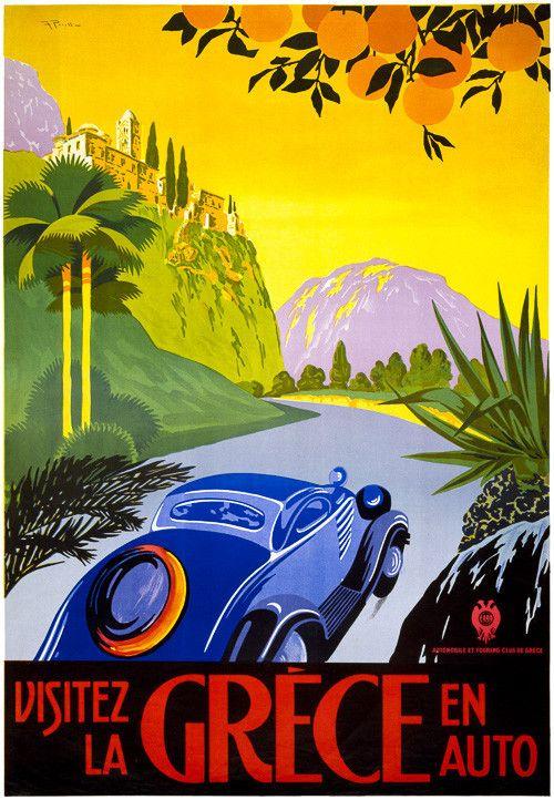 "Visitez la Grèce en auto. An automobile drives along a mountain road in Greece in this vintage travel poster published by ""Automobile et Touring Club de Grèce,"" circa 1930. Prints from $15."