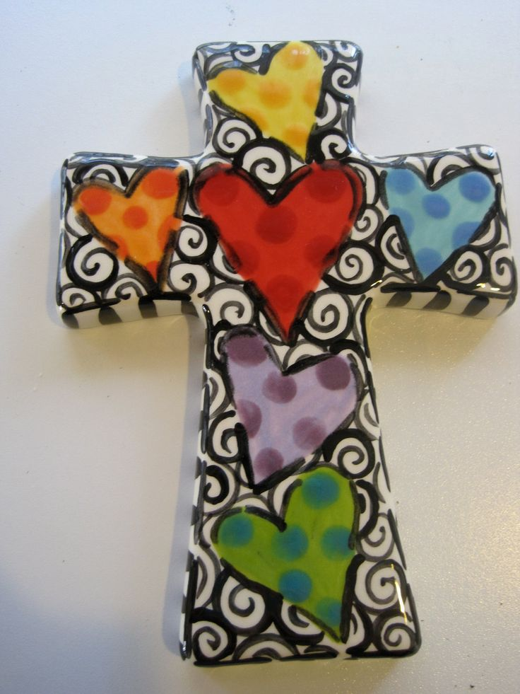 Image detail for -Hand Painted Ceramic Cross by shannondesigns on Etsy