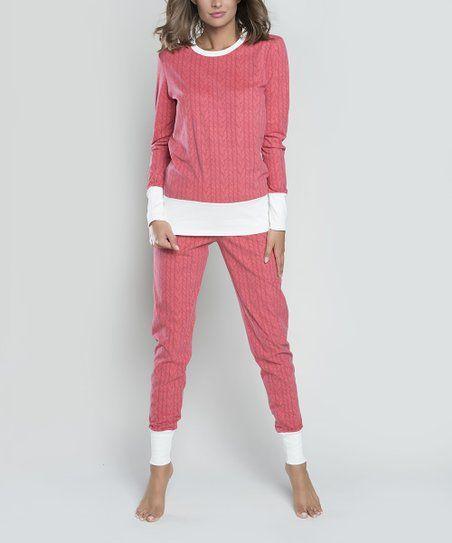 34cdc7cd541f Italian Fashion Raspberry Cable Oslo Pajama Set - Women