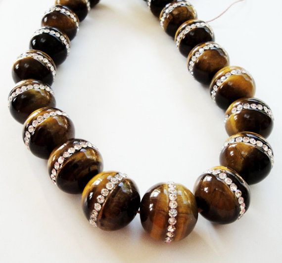 Tiger Eye With Clear Rhinestones Embedded/ 12mm by BijiBijoux, $8.00