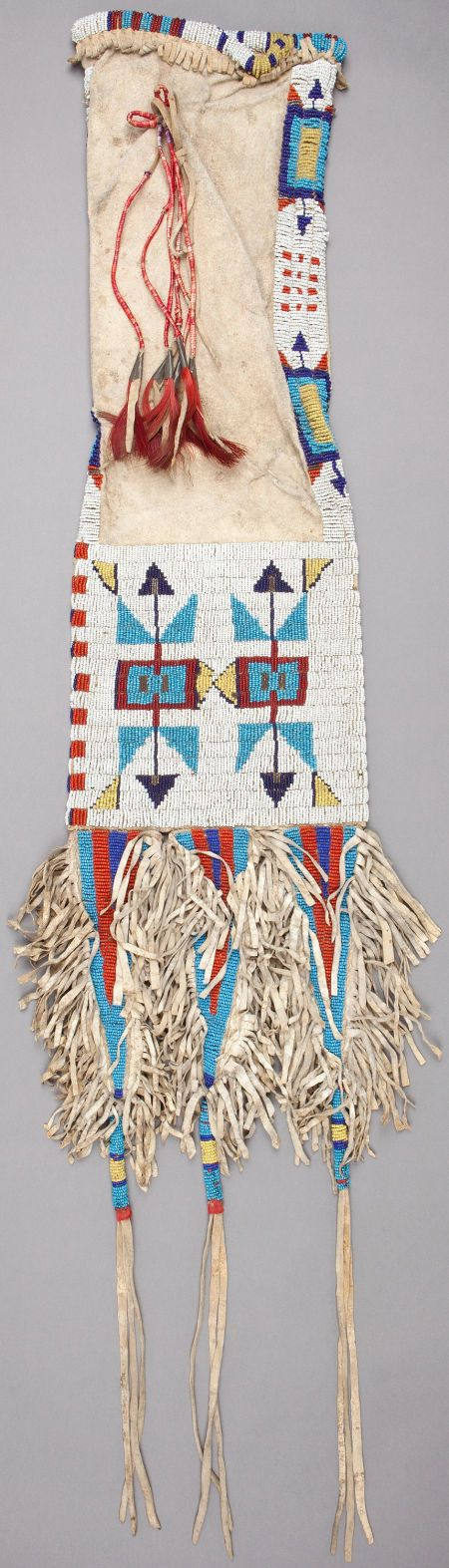 A SIOUX BEADED HIDE TOBACCO BAG. c. 1900