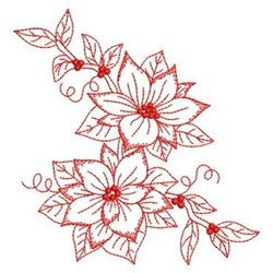Redwork Poinsettia Spray embroidery design
