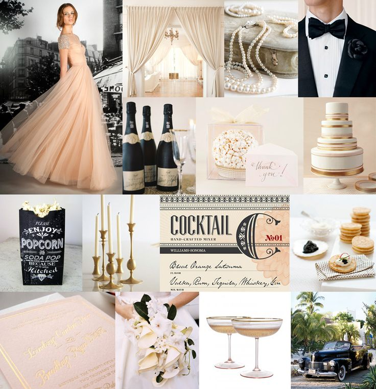 Old Hollywood Glamour Wedding Palette Blush Pink Pearl White Oscar Gold
