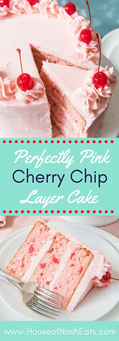 This homemade Vintage Cherry Chip Layer Cake made from scratch is bursting with sweet cherry flavor and tinted the perfect shade of pink from nothing other than the maraschino cherry juice from the jar! Chopped up maraschino cherries are folded into the batter to make sure the cherry flavor really comes through in this super fun, moist Cherry Chip Layer Cake that is perfect for almost any celebration like birthday parties, Valentine's Day, Easter, or a Pinkalicious party!