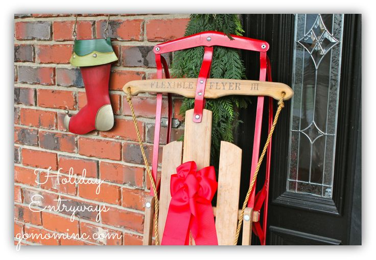 Because our sled rarely has a home in the snow its a perfect addition to our front porch decor! Ideas for Holiday Entryways #PFDecorates: Finding Ideas, Decor Ideas, Condos Ideas