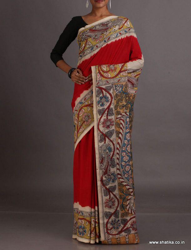 Meera Plain Naturally Dyed and Hand-Painted #KalamkariPureCottonSaree