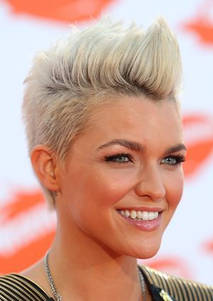 "A hot new trend is the pompadour, also known as the quiff or ""the Faux Hawk"". Check out these amazing pompadour hairstyles.: Ruby Rose"