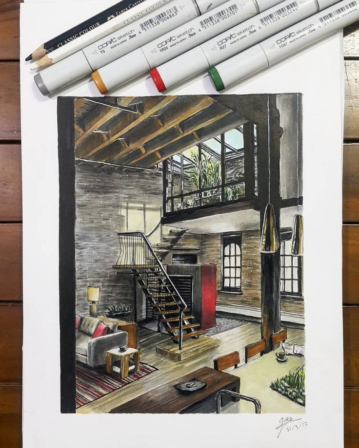 Loft Apartment Living Room - Industrial Style. Drawings of Architecture and Interior Design. By Glenn Geraldi.