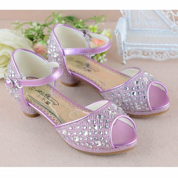 Fuchsia Beaded High Heel Pageant Girl Girls Party Dress Sandals Shoes SKU-133583