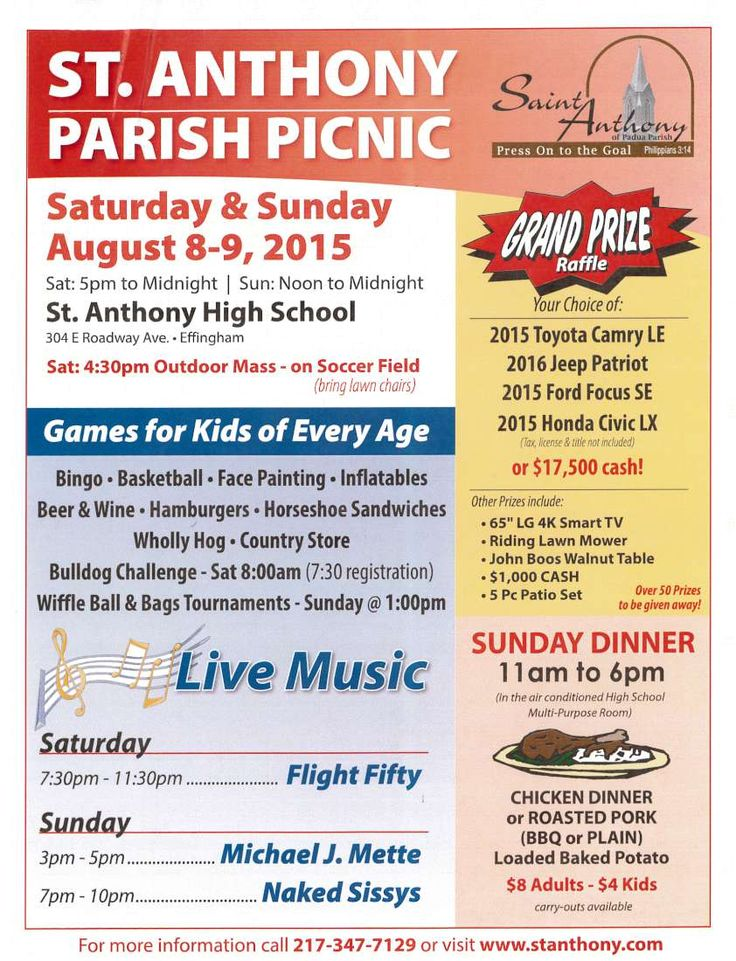 This year's St. Anthony Parish Picnic is Aug. 8-9!