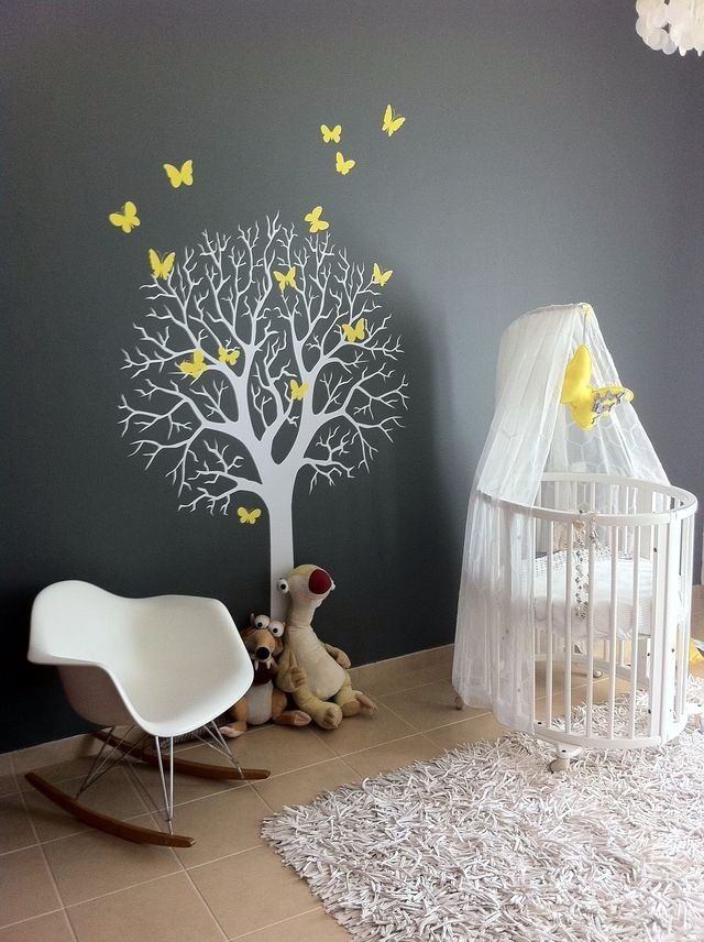 Grey nursery and white furniture