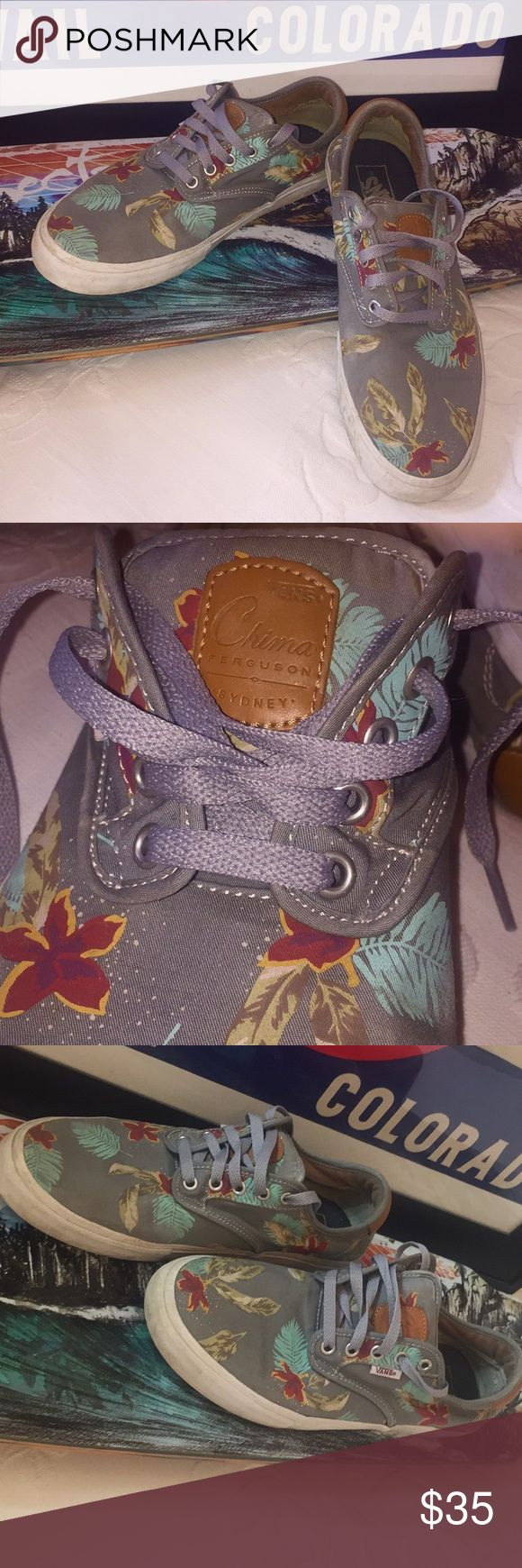 Vans Chima Ferguson Pro Aloha Light Grey Vans Chima Ferguson pro men's skate shoes in Aloha light Grey. Shoes are in good used condition from a smoke free home. Vans Shoes Sneakers