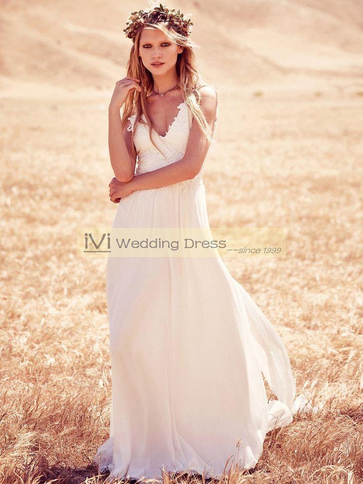 Spaghetti Straps Lace and Chiffon Summer Beach Wedding Dress Boho Bridal Gown