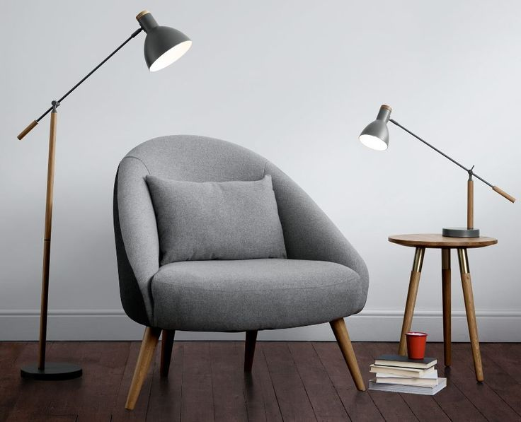 Our Cohen lamp is a softer take on industrial design. The industrial design is offset by the sleek American oak and deep grey. £99 MADE.COM